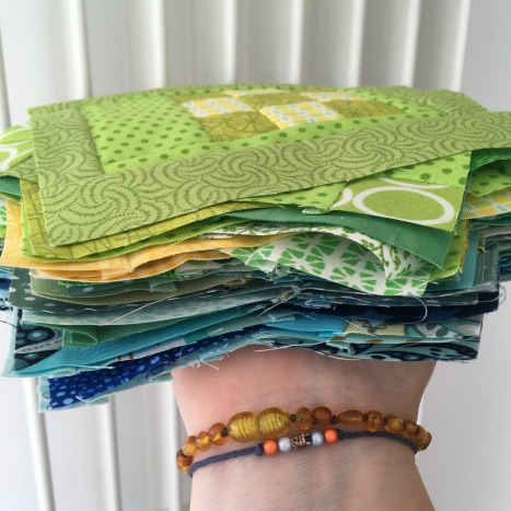 Pile of quilt blocks