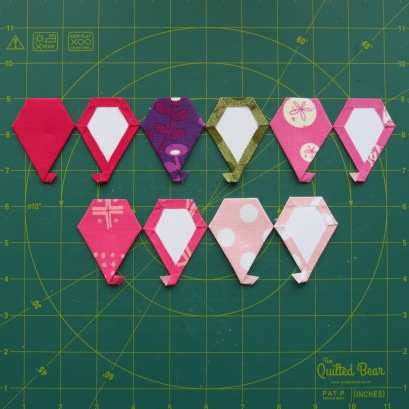 all your jewel paper pieces ready to sew