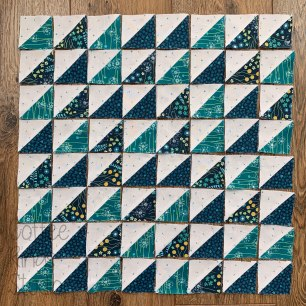 large half square triangle block