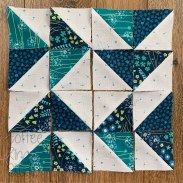 small half square triangle chasing geese block