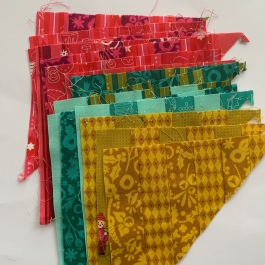 Rainbow Lattice quilt off-cuts